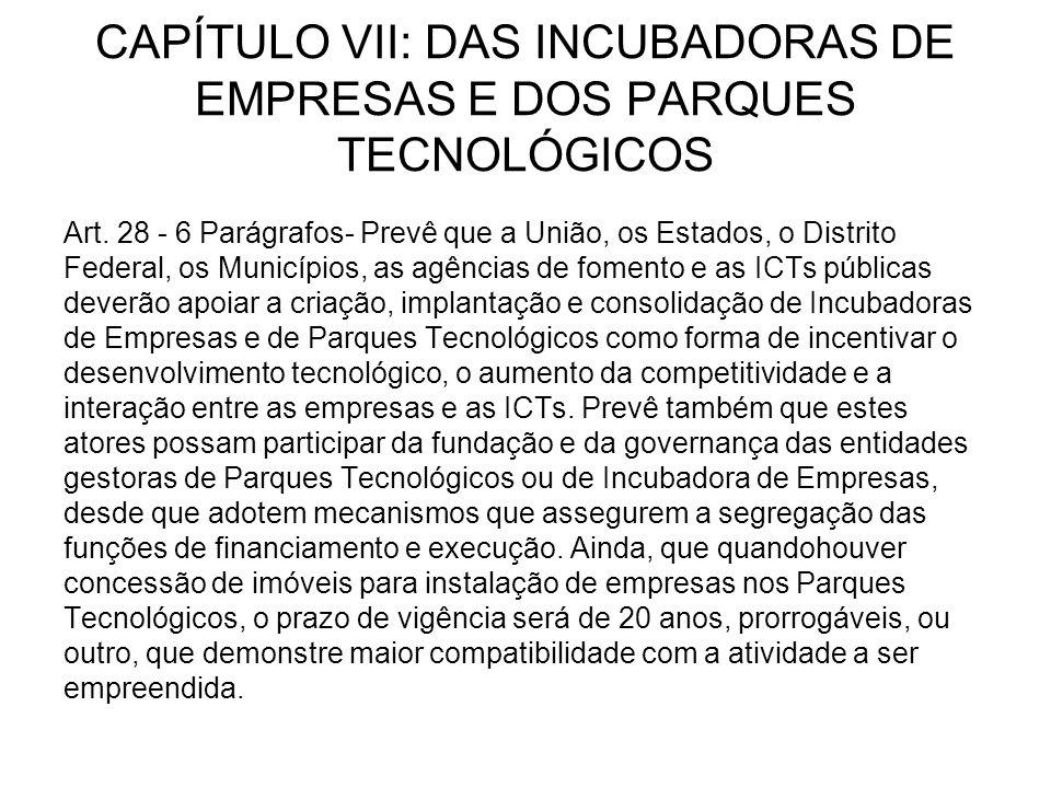 CAPÍTULO VII: DAS INCUBADORAS DE EMPRESAS E DOS PARQUES TECNOLÓGICOS Art.