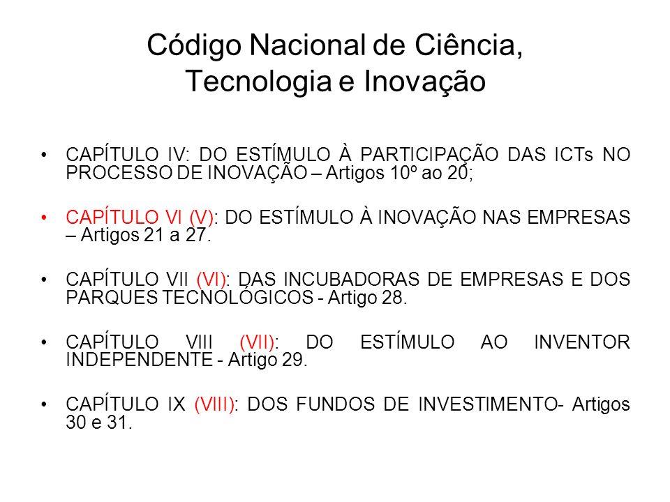 Código Nacional de Ciência, Tecnologia e Inovação CAPÍTULO IV: DO ESTÍMULO À PARTICIPAÇÃO DAS ICTs NO PROCESSO DE INOVAÇÃO – Artigos 10º ao 20; CAPÍTULO VI (V): DO ESTÍMULO À INOVAÇÃO NAS EMPRESAS – Artigos 21 a 27.