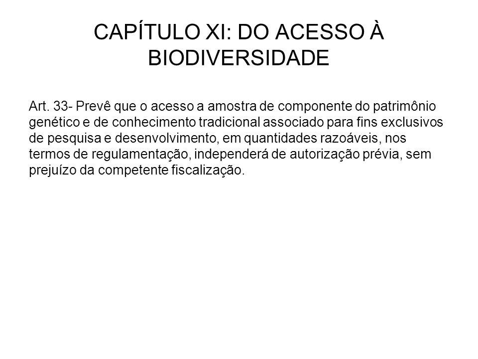 CAPÍTULO XI: DO ACESSO À BIODIVERSIDADE Art.