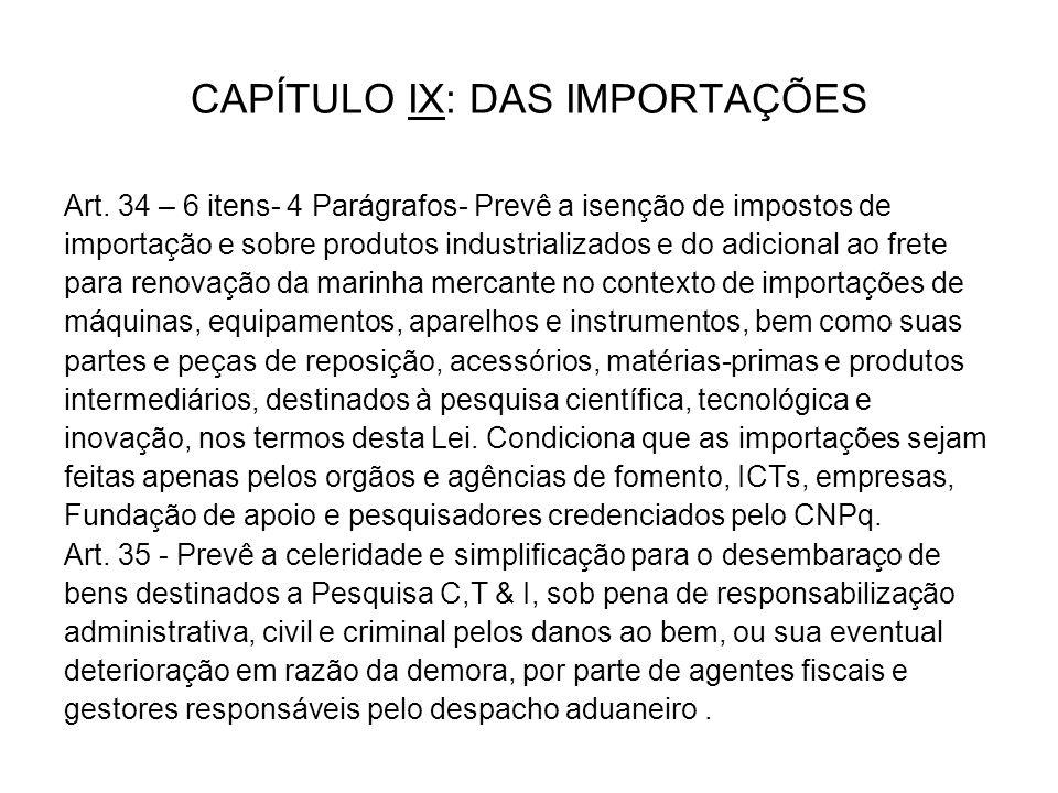 CAPÍTULO IX: DAS IMPORTAÇÕES Art.