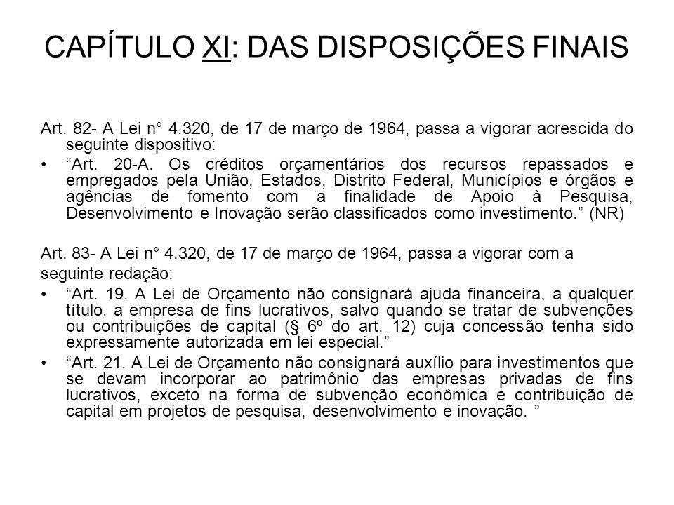 CAPÍTULO XI: DAS DISPOSIÇÕES FINAIS Art.