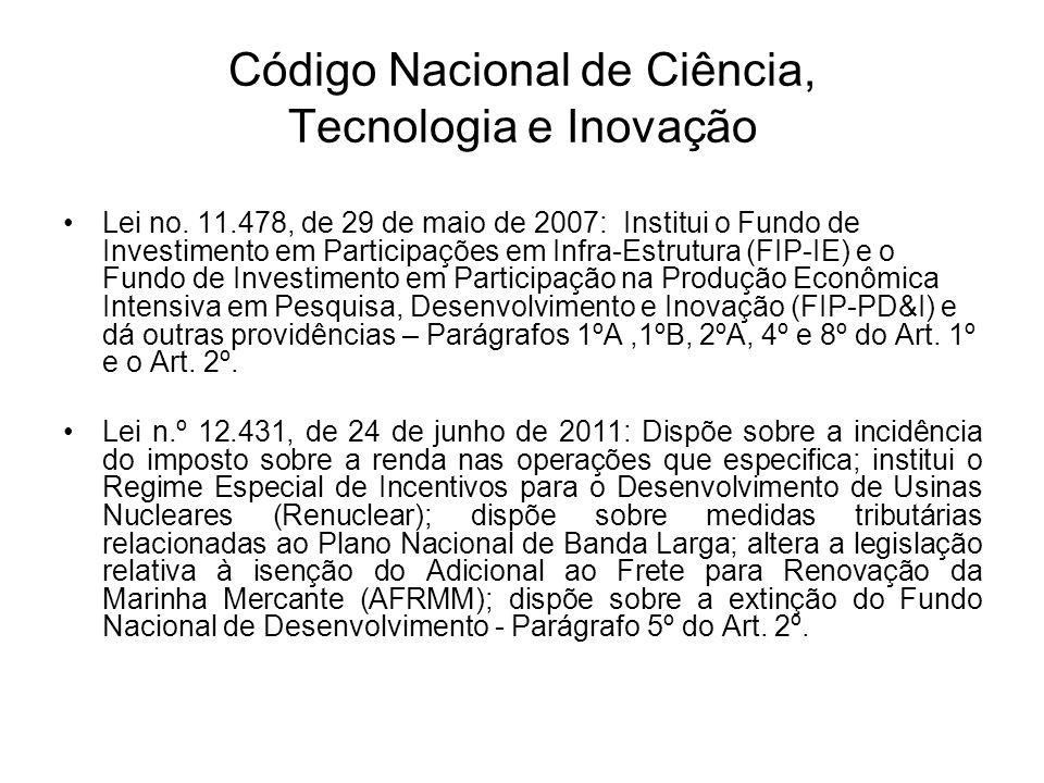 Código Nacional de Ciência, Tecnologia e Inovação Lei no.