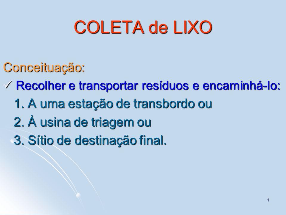 1 COLETA de LIXO Conceituação: Recolher e transportar resíduos e encaminhá-lo: Recolher e transportar resíduos e encaminhá-lo: 1. A uma estação de tra