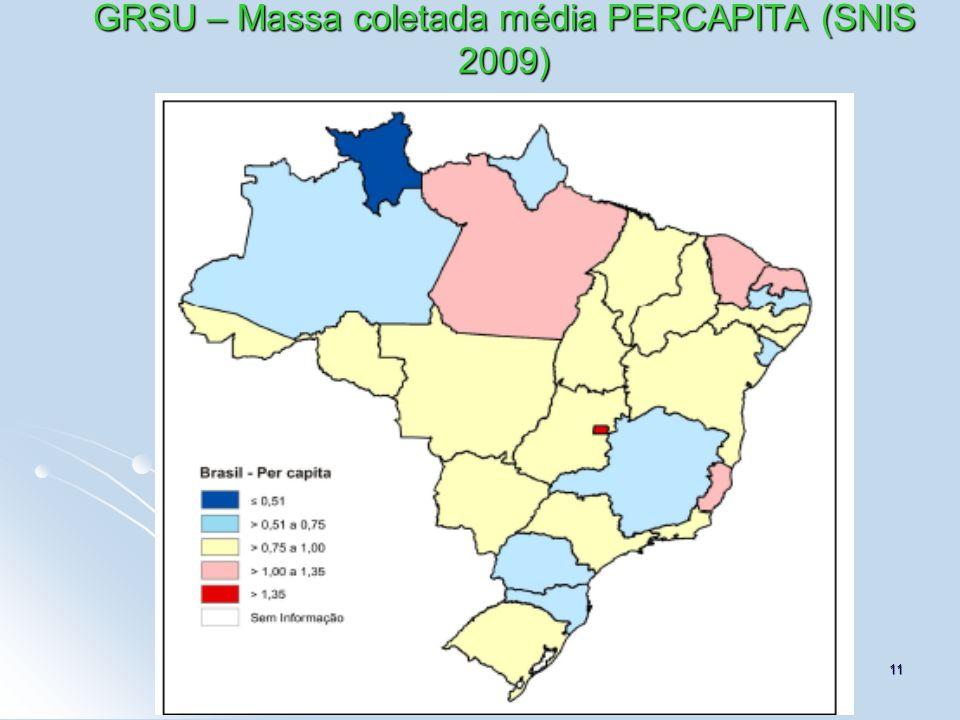 11 GRSU – Massa coletada média PERCAPITA (SNIS 2009)
