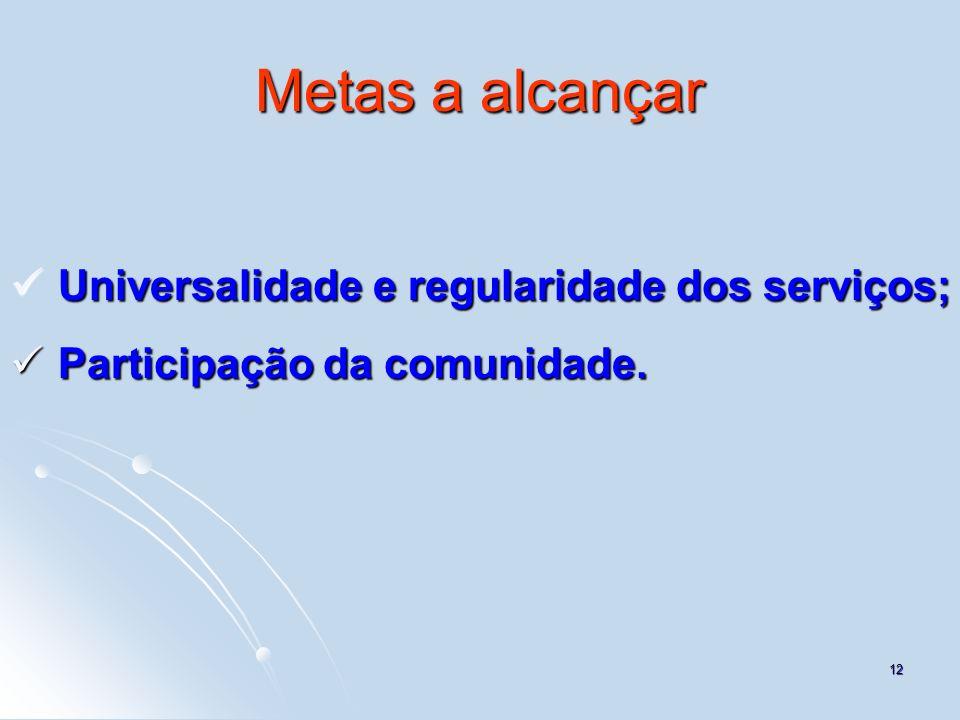 12 Metas a alcançar Universalidade e regularidade dos serviços; Universalidade e regularidade dos serviços; Participação da comunidade. Participação d