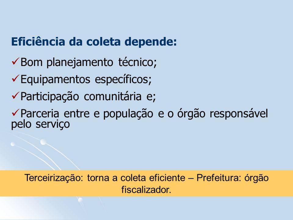 Eficiência da coleta depende: Bom planejamento técnico; Equipamentos específicos; Participação comunitária e; Parceria entre e população e o órgão res