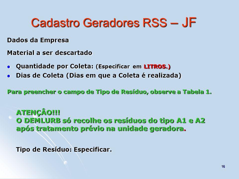 16 Cadastro Geradores RSS – JF Dados da Empresa Material a ser descartado Quantidade por Coleta: (Especificar em LITROS.) Quantidade por Coleta: (Espe