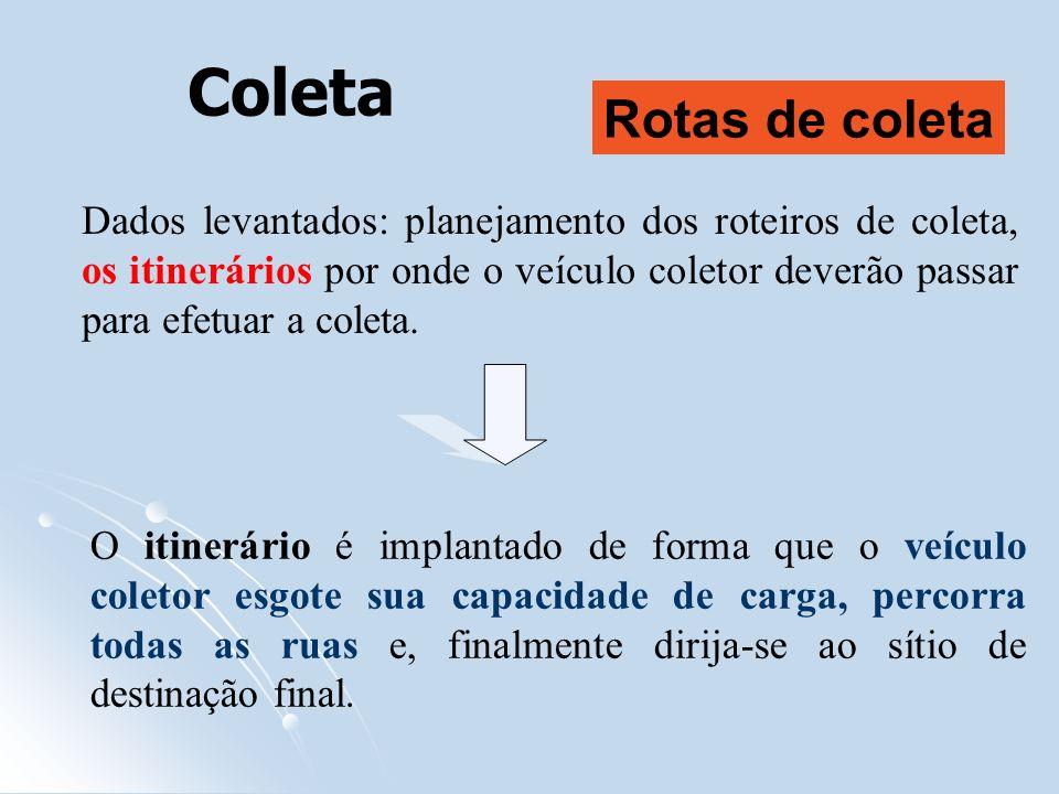 Coleta Dados levantados: planejamento dos roteiros de coleta, os itinerários por onde o veículo coletor deverão passar para efetuar a coleta. O itiner