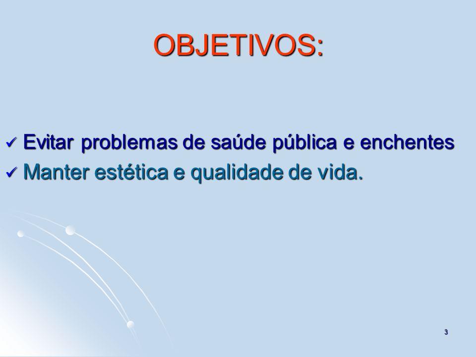 3 OBJETIVOS: Evitar problemas de saúde pública e enchentes Evitar problemas de saúde pública e enchentes Manter estética e qualidade de vida. Manter e