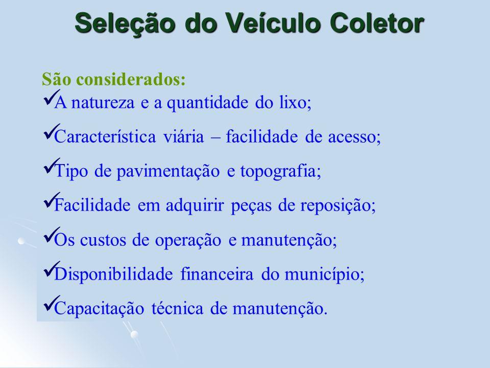 Seleção do Veículo Coletor São considerados: A natureza e a quantidade do lixo; Característica viária – facilidade de acesso; Tipo de pavimentação e t