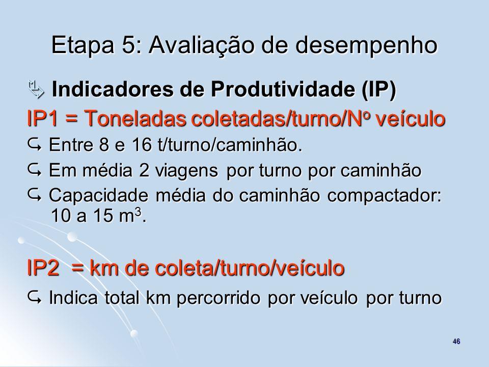 46 Etapa 5: Avaliação de desempenho Indicadores de Produtividade (IP) Indicadores de Produtividade (IP) IP1 = Toneladas coletadas/turno/N o veículo En