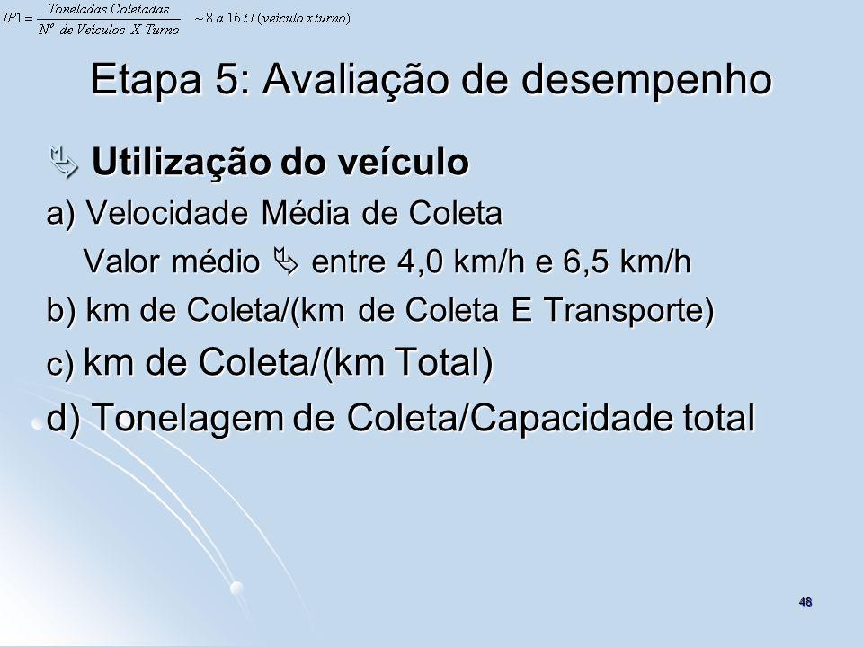 48 Etapa 5: Avaliação de desempenho Utilização do veículo Utilização do veículo a) Velocidade Média de Coleta Valor médio entre 4,0 km/h e 6,5 km/h Va