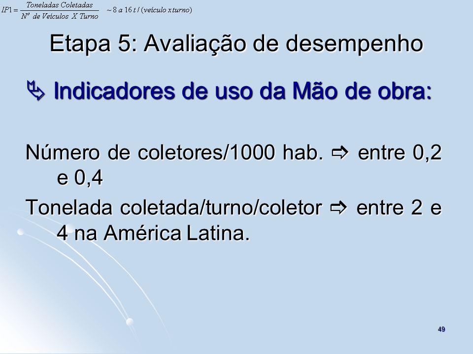 49 Etapa 5: Avaliação de desempenho Indicadores de uso da Mão de obra: Indicadores de uso da Mão de obra: Número de coletores/1000 hab. entre 0,2 e 0,