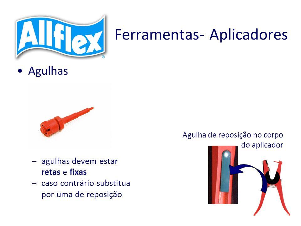 Ferramentas- Aplicadores Agulhas –agulhas devem estar retas e fixas –caso contrário substitua por uma de reposição Agulha de reposição no corpo do aplicador
