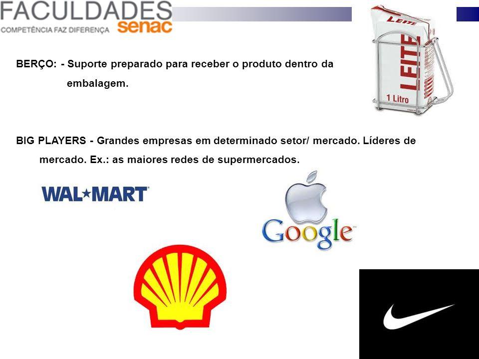 BERÇO: - Suporte preparado para receber o produto dentro da embalagem. BIG PLAYERS - Grandes empresas em determinado setor/ mercado. Líderes de mercad
