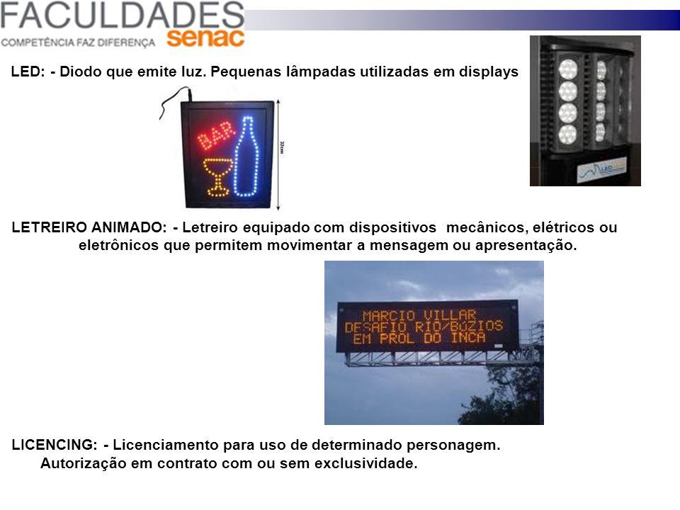LED: - Diodo que emite luz. Pequenas lâmpadas utilizadas em displays LETREIRO ANIMADO: - Letreiro equipado com dispositivos mecânicos, elétricos ou el