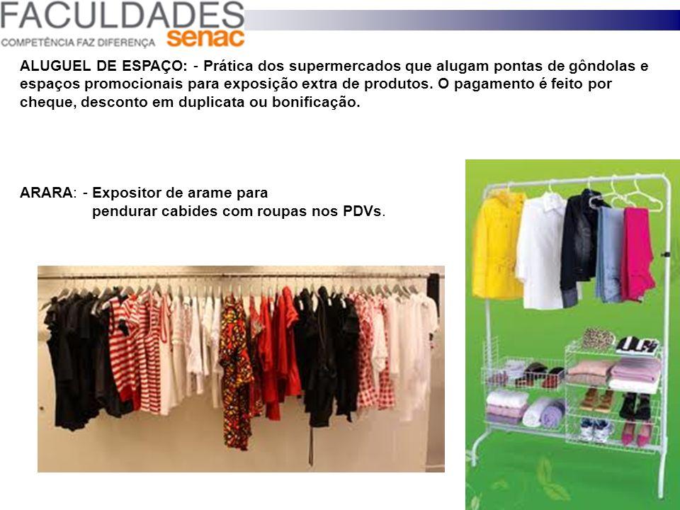 ALUGUEL DE ESPAÇO: - Prática dos supermercados que alugam pontas de gôndolas e espaços promocionais para exposição extra de produtos. O pagamento é fe