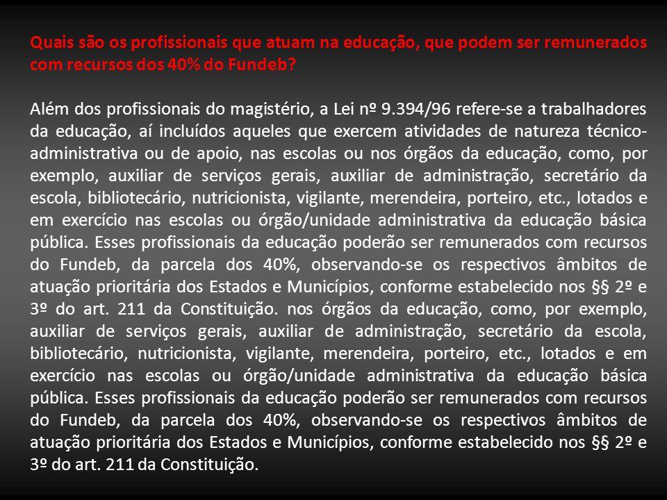 Quais são os profissionais que atuam na educação, que podem ser remunerados com recursos dos 40% do Fundeb? Além dos profissionais do magistério, a Le