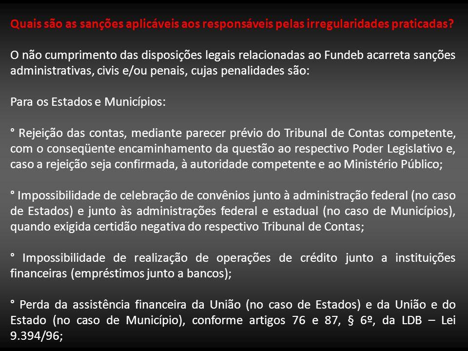 Quais são as sanções aplicáveis aos responsáveis pelas irregularidades praticadas? O não cumprimento das disposições legais relacionadas ao Fundeb aca