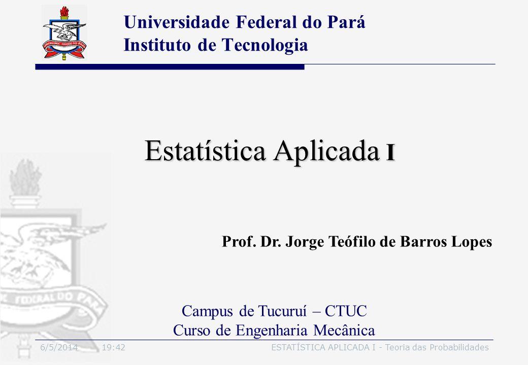 6/5/2014 19:44ESTATÍSTICA APLICADA I - Teoria das Probabilidades Estatística Aplicada I Prof. Dr. Jorge Teófilo de Barros Lopes Universidade Federal d