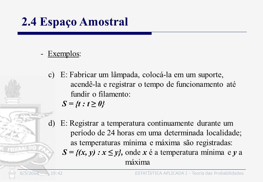6/5/2014 19:44ESTATÍSTICA APLICADA I - Teoria das Probabilidades 2.4 Espaço Amostral -Exemplos: c)E: Fabricar um lâmpada, colocá-la em um suporte, ace