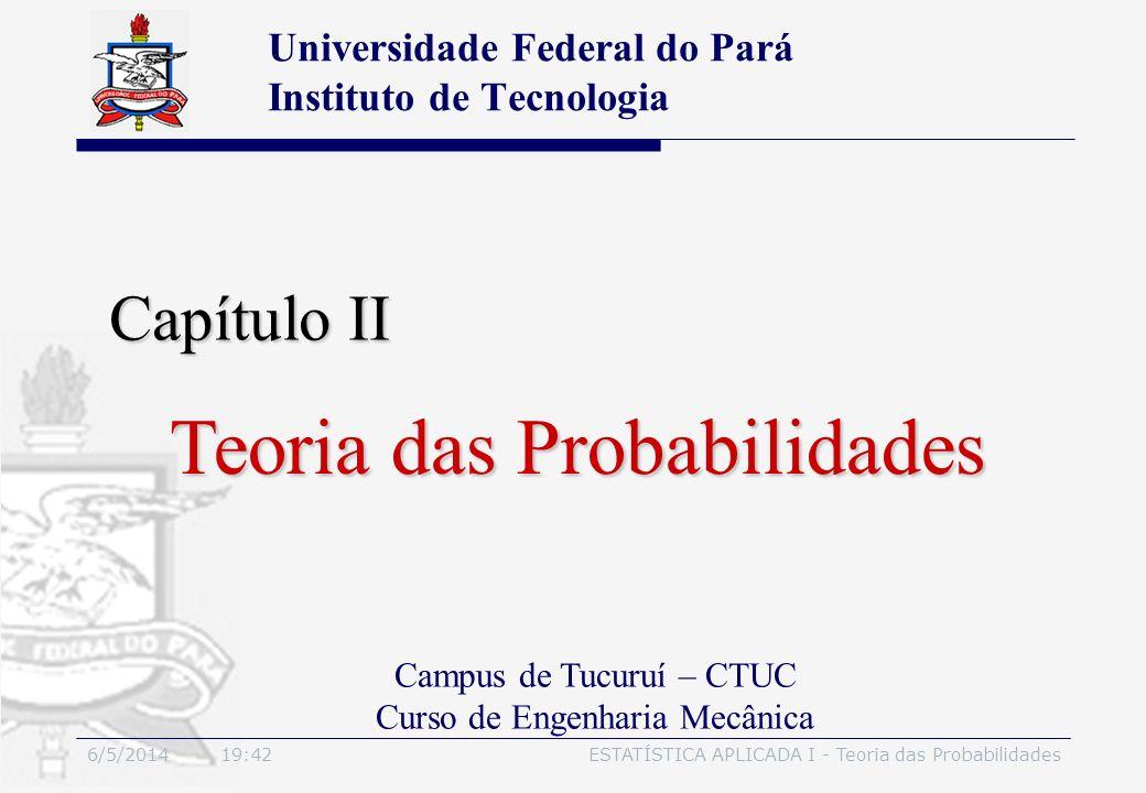 6/5/2014 19:44ESTATÍSTICA APLICADA I - Teoria das Probabilidades Teoremas fundamentais Probabilidades finitas dos espaços amostrais finitos Espaços amostrais finitos equiprováveis Probabilidade condicional Teorema do produto Independência estatística Teorema de Bayes Teoria das Probabilidades - Sumário