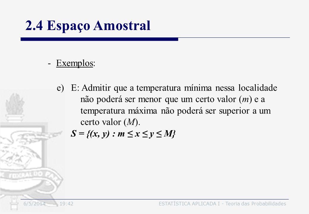 6/5/2014 19:44ESTATÍSTICA APLICADA I - Teoria das Probabilidades 2.4 Espaço Amostral -Exemplos: e)E: Admitir que a temperatura mínima nessa localidade