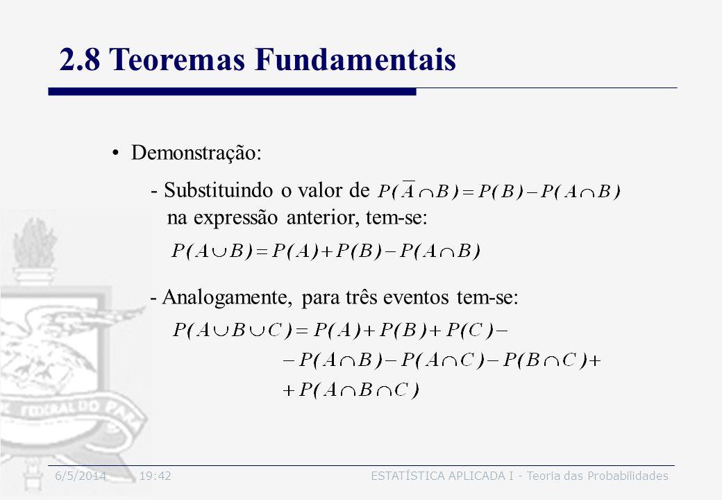 6/5/2014 19:44ESTATÍSTICA APLICADA I - Teoria das Probabilidades Demonstração: - Substituindo o valor de na expressão anterior, tem-se: - Analogamente