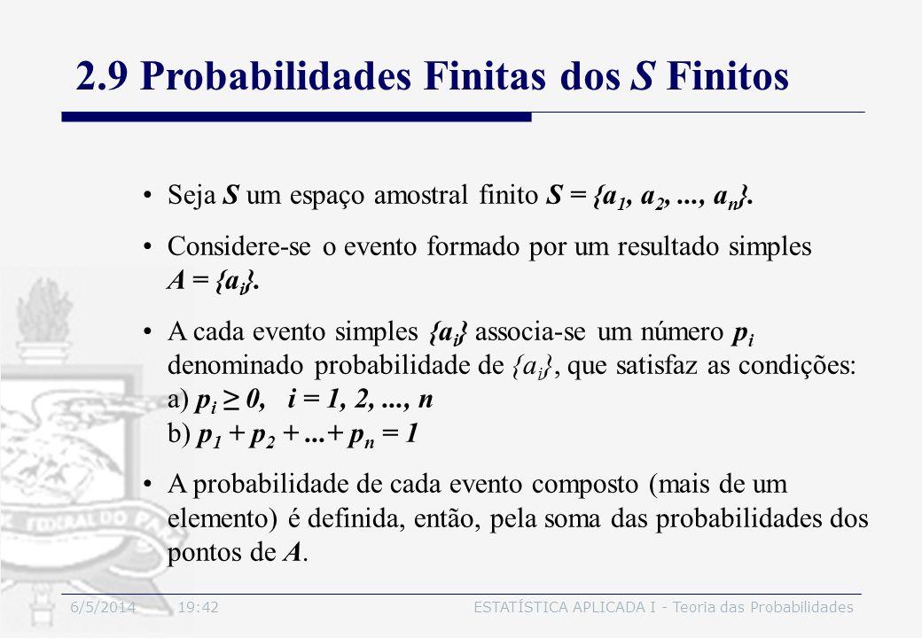6/5/2014 19:44ESTATÍSTICA APLICADA I - Teoria das Probabilidades Seja S um espaço amostral finito S = {a 1, a 2,..., a n }. Considere-se o evento form