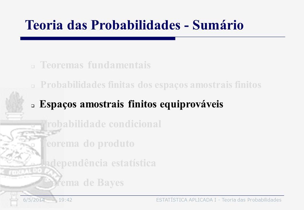 6/5/2014 19:44ESTATÍSTICA APLICADA I - Teoria das Probabilidades Teoremas fundamentais Probabilidades finitas dos espaços amostrais finitos Espaços am