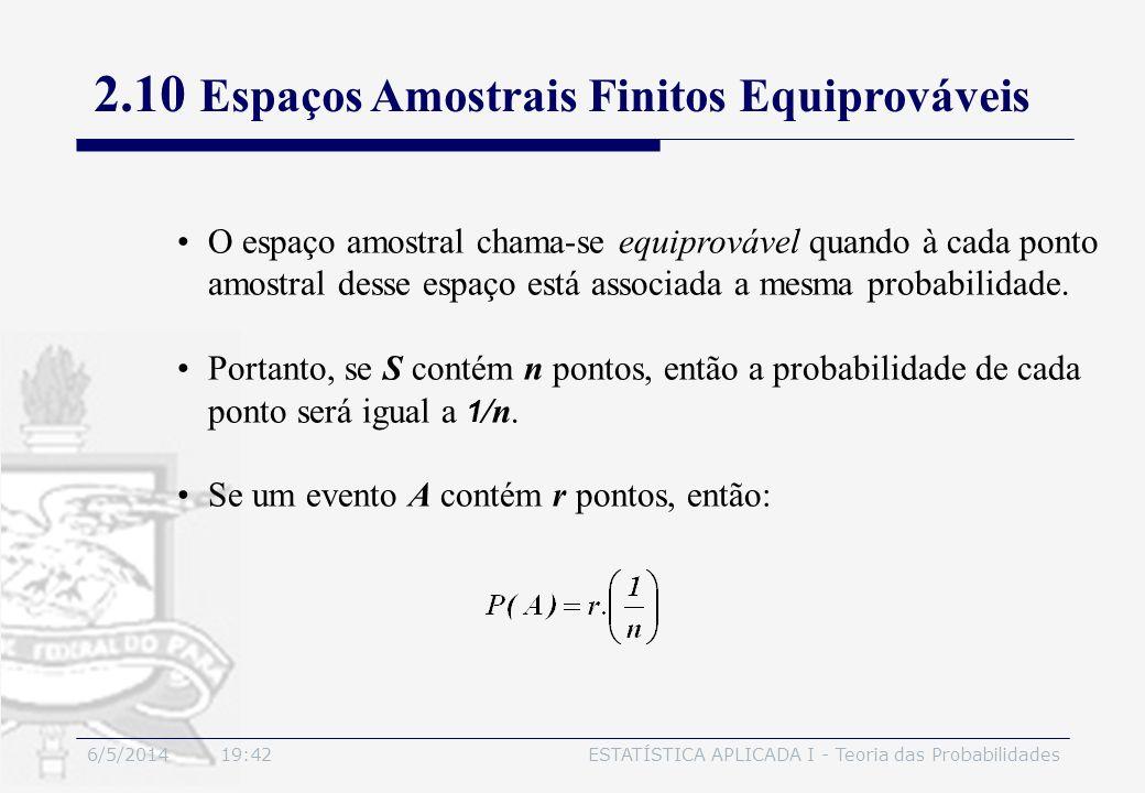 6/5/2014 19:44ESTATÍSTICA APLICADA I - Teoria das Probabilidades O espaço amostral chama-se equiprovável quando à cada ponto amostral desse espaço est