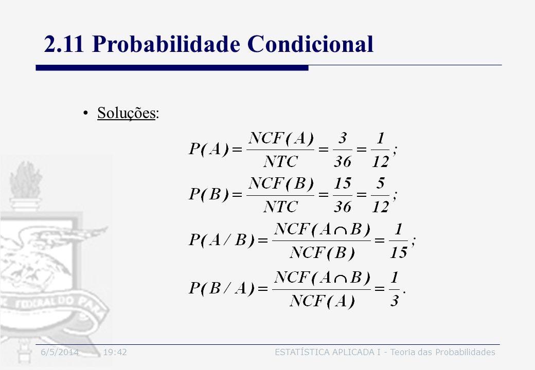 6/5/2014 19:44ESTATÍSTICA APLICADA I - Teoria das Probabilidades Soluções: 2.11 Probabilidade Condicional