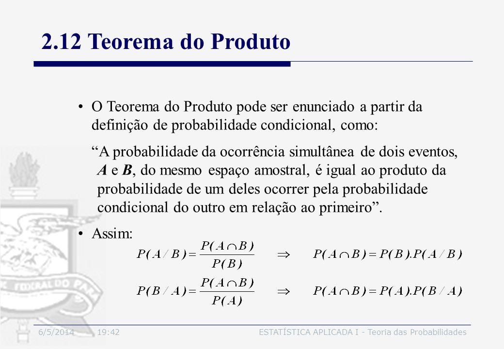 6/5/2014 19:44ESTATÍSTICA APLICADA I - Teoria das Probabilidades O Teorema do Produto pode ser enunciado a partir da definição de probabilidade condic