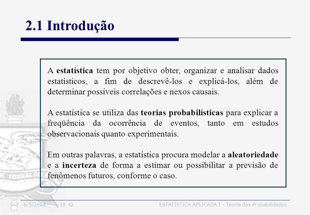 6/5/2014 19:44ESTATÍSTICA APLICADA I - Teoria das Probabilidades 2.1 Introdução Estudo dos fenômenos de observação: deve-se distinguir o próprio fenômeno e o modelo matemático que melhor o explique, se determinístico ou probabilístico.