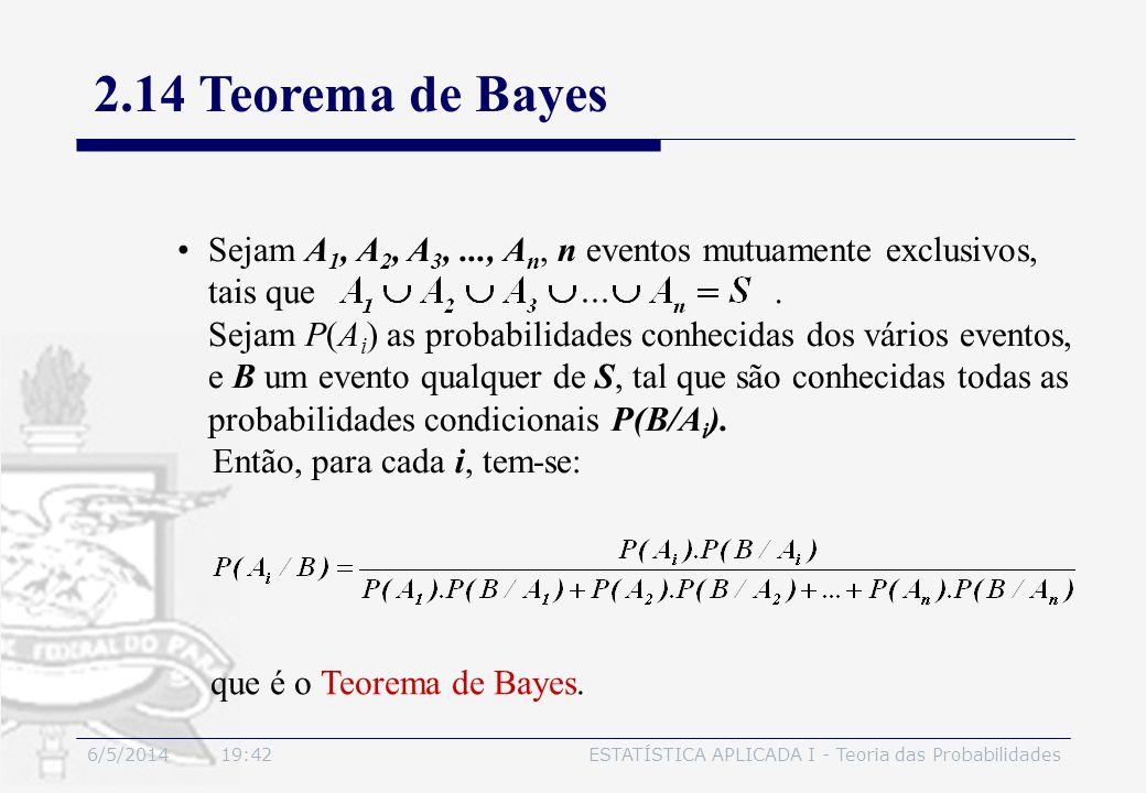 6/5/2014 19:44ESTATÍSTICA APLICADA I - Teoria das Probabilidades Sejam A 1, A 2, A 3,..., A n, n eventos mutuamente exclusivos, tais que. Sejam P(A i