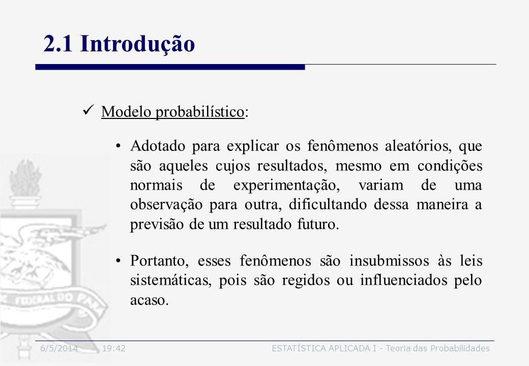 6/5/2014 19:44ESTATÍSTICA APLICADA I - Teoria das Probabilidades 2.1 Introdução Modelo probabilístico: Adotado para explicar os fenômenos aleatórios,