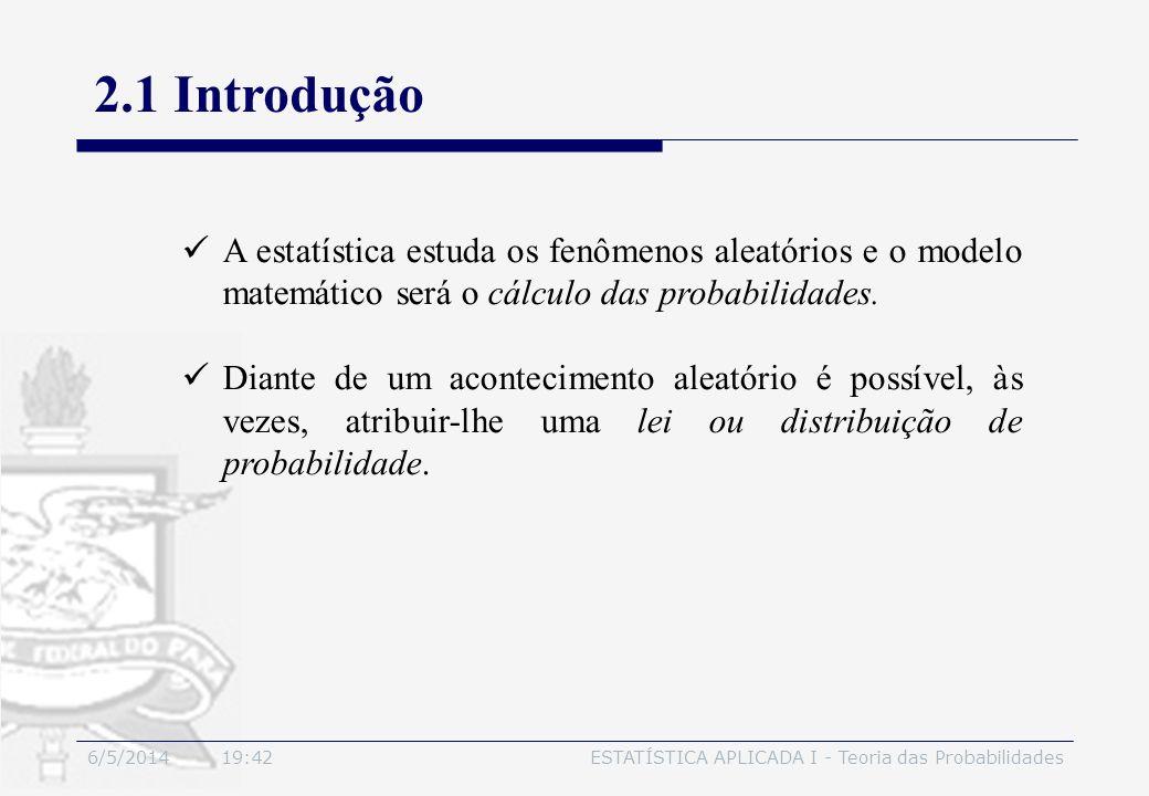 6/5/2014 19:44ESTATÍSTICA APLICADA I - Teoria das Probabilidades Seja S um espaço amostral finito S = {a 1, a 2,..., a n }.