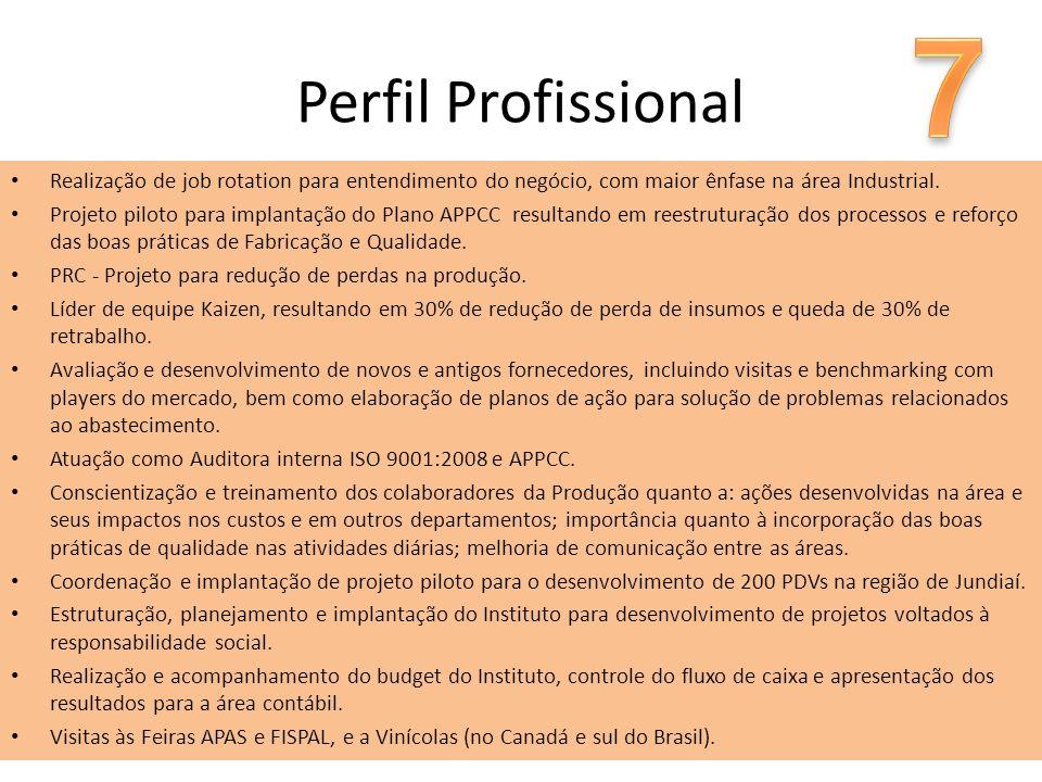 Perfil Profissional Realização de job rotation para entendimento do negócio, com maior ênfase na área Industrial. Projeto piloto para implantação do P