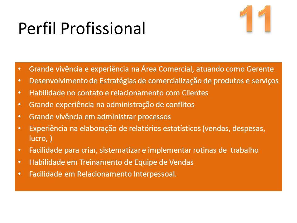 Grande vivência e experiência na Área Comercial, atuando como Gerente Desenvolvimento de Estratégias de comercialização de produtos e serviços Habilid