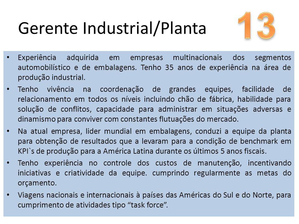Gerente Industrial/Planta Experiência adquirida em empresas multinacionais dos segmentos automobilístico e de embalagens. Tenho 35 anos de experiência