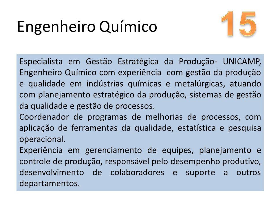 Especialista em Gestão Estratégica da Produção- UNICAMP, Engenheiro Químico com experiência com gestão da produção e qualidade em indústrias químicas e metalúrgicas, atuando com planejamento estratégico da produção, sistemas de gestão da qualidade e gestão de processos.