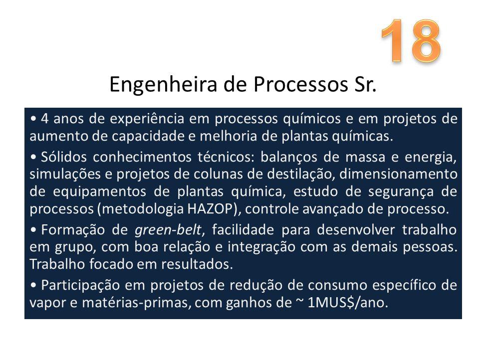 Engenheira de Processos Sr. 4 anos de experiência em processos químicos e em projetos de aumento de capacidade e melhoria de plantas químicas. Sólidos