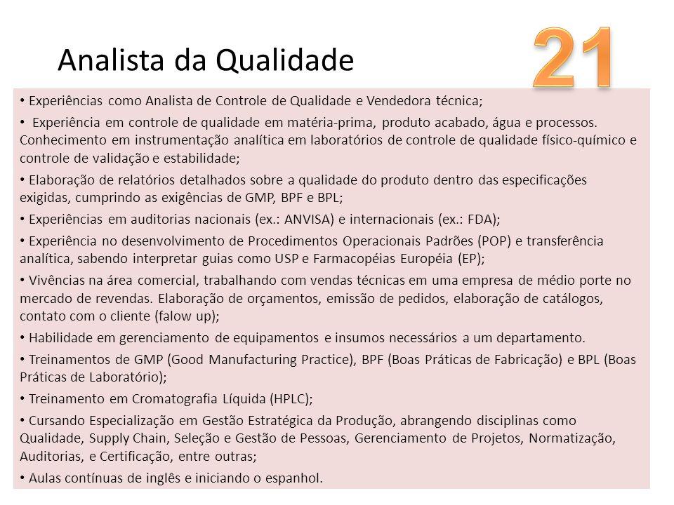 Analista da Qualidade Experiências como Analista de Controle de Qualidade e Vendedora técnica; Experiência em controle de qualidade em matéria-prima,