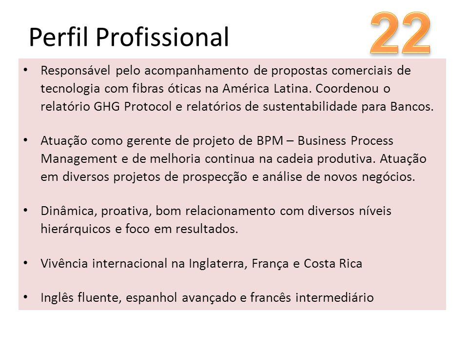 Perfil Profissional Responsável pelo acompanhamento de propostas comerciais de tecnologia com fibras óticas na América Latina. Coordenou o relatório G