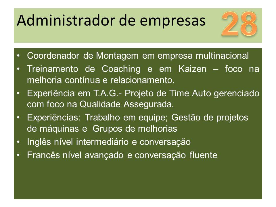 Administrador de empresas Coordenador de Montagem em empresa multinacional Treinamento de Coaching e em Kaizen – foco na melhoria contínua e relacionamento.