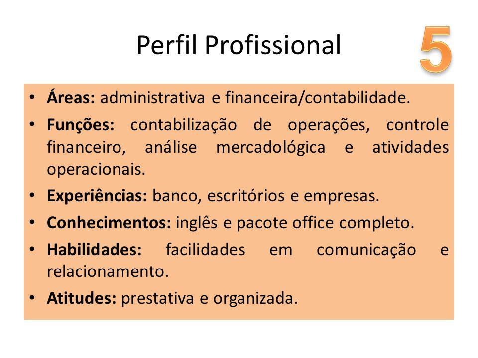 Perfil Profissional Áreas: administrativa e financeira/contabilidade. Funções: contabilização de operações, controle financeiro, análise mercadológica