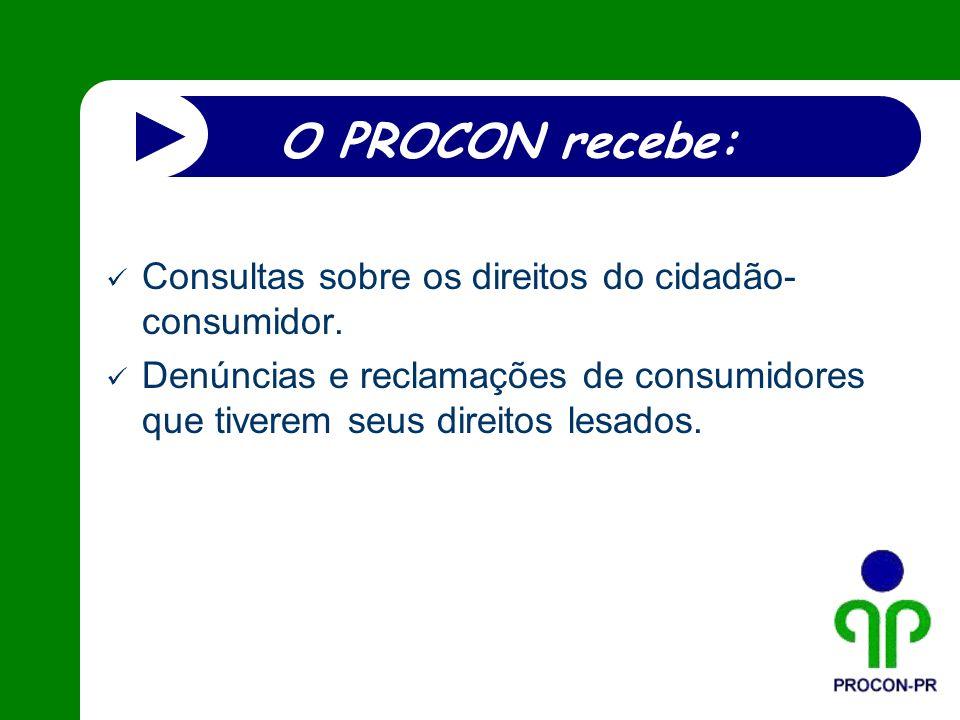 O PROCON recebe: Consultas sobre os direitos do cidadão- consumidor. Denúncias e reclamações de consumidores que tiverem seus direitos lesados.