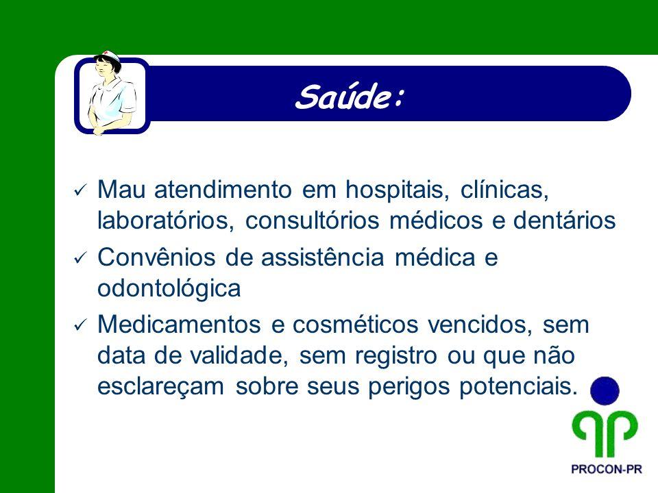 Saúde: Mau atendimento em hospitais, clínicas, laboratórios, consultórios médicos e dentários Convênios de assistência médica e odontológica Medicamen
