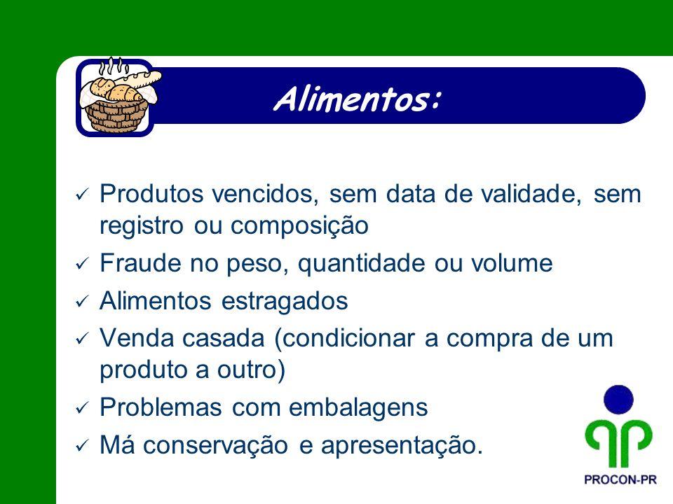 Alimentos: Produtos vencidos, sem data de validade, sem registro ou composição Fraude no peso, quantidade ou volume Alimentos estragados Venda casada
