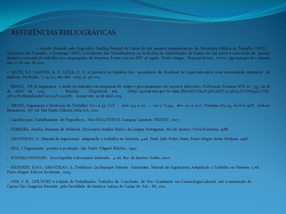 REFERÊNCIAS BIBLIOGRÁFICAS – Acordo Firmado pelo Frigorífico Marfrig Penasul de Caxias do Sul, perante representantes do Ministério Público do Trabalh